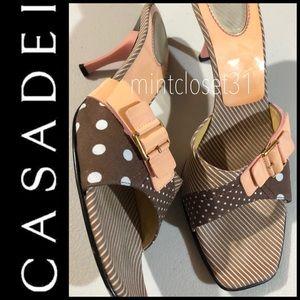 Casadei Italy Leather Trim Sandal Heels